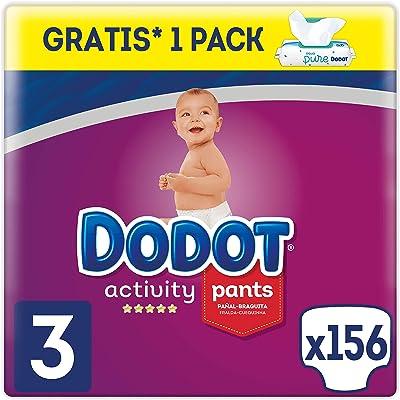 Dodot Activity Pants Pañal-Braguita Talla 3, 156 Pañales, 6-11kg + Dodot Aqua Pure Toallitas para bebé, 1 Pack de 48 Toallitas Gratis