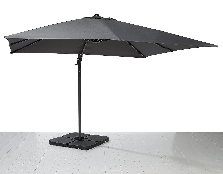 Ampelschirm Sonnenschirm grau 300x300 cm Schirm mit Kurbel und Schirmplatten