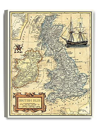 DECORARTS- British Isles map Wall Art. Ancient Map Giclee Print Canvas Art Wall Decor, Map of Historical British Isles.20×16