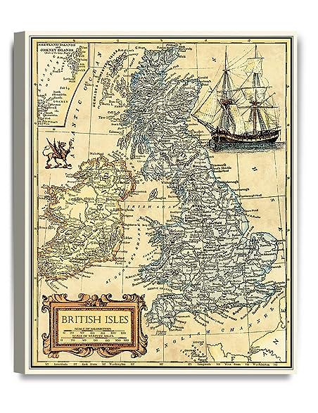 Amazon.com: DecorArts- British Isles map wall art. Ancient Map ...
