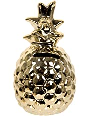Truu Design Cute Ceramic Pineapple Money Bank, 3.5 x 6.5, Gold