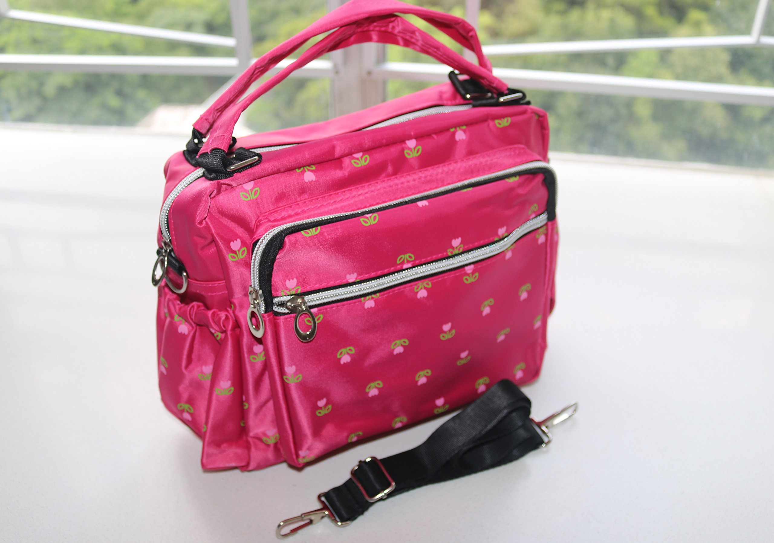 Durable Nylon Crossbody Messenger Handbag with Zipper Pockets (Summer)
