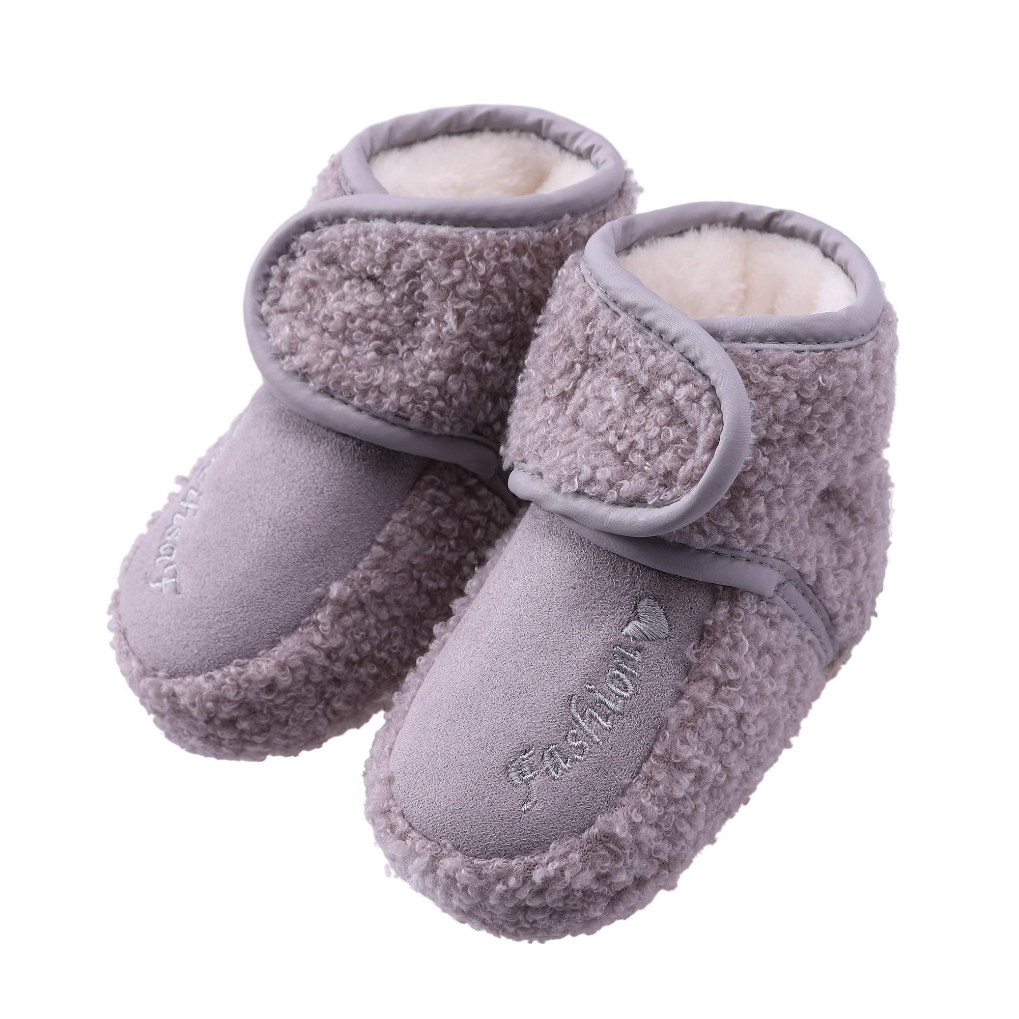 YEBING Baby Girls Boys Newborn Infant Super Warm Soft Fleece Slippers Booties with Grippers for 0-18 Month,3 Colors Availabled (Large / 12-18 Month, Gray)