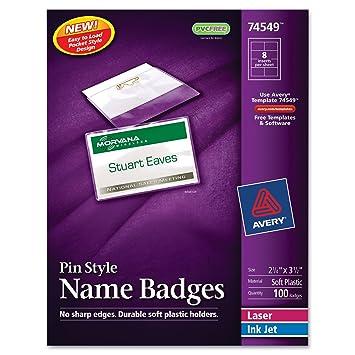 Amazon avery 74549 name badge kit easy pkt pin top load 2 avery 74549 name badge kiteasy pktpintop load2 saigontimesfo