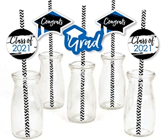 product image for Big Dot of Happiness Blue Grad - Best is Yet to Come - Paper Straw Decor - Royal Blue 2021 Graduation Party Striped Decorative Straws - Set of 24