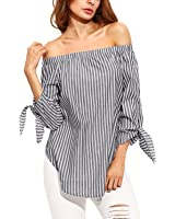StyleDome Women Blouse Striped Off Shoulder Elegant Shirts 3/4 Sleeve Tie Cuff Sexy Tee Tops