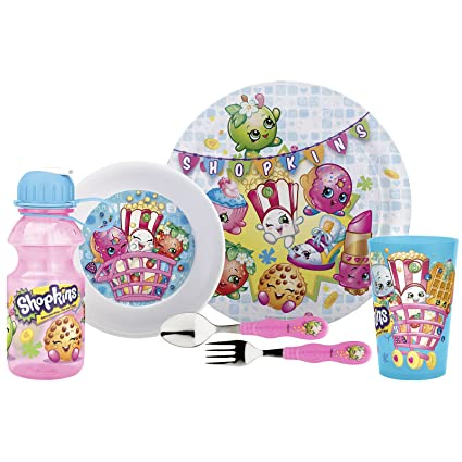 5bb9cd7c8c Designs Mealtime Set, Plate, Bowl, Tumbler, Water Bottle, Fork & Spoon with  the characters from Shopkins, BPA-free, 6-Piece Set: Amazon.in: Home &  Kitchen