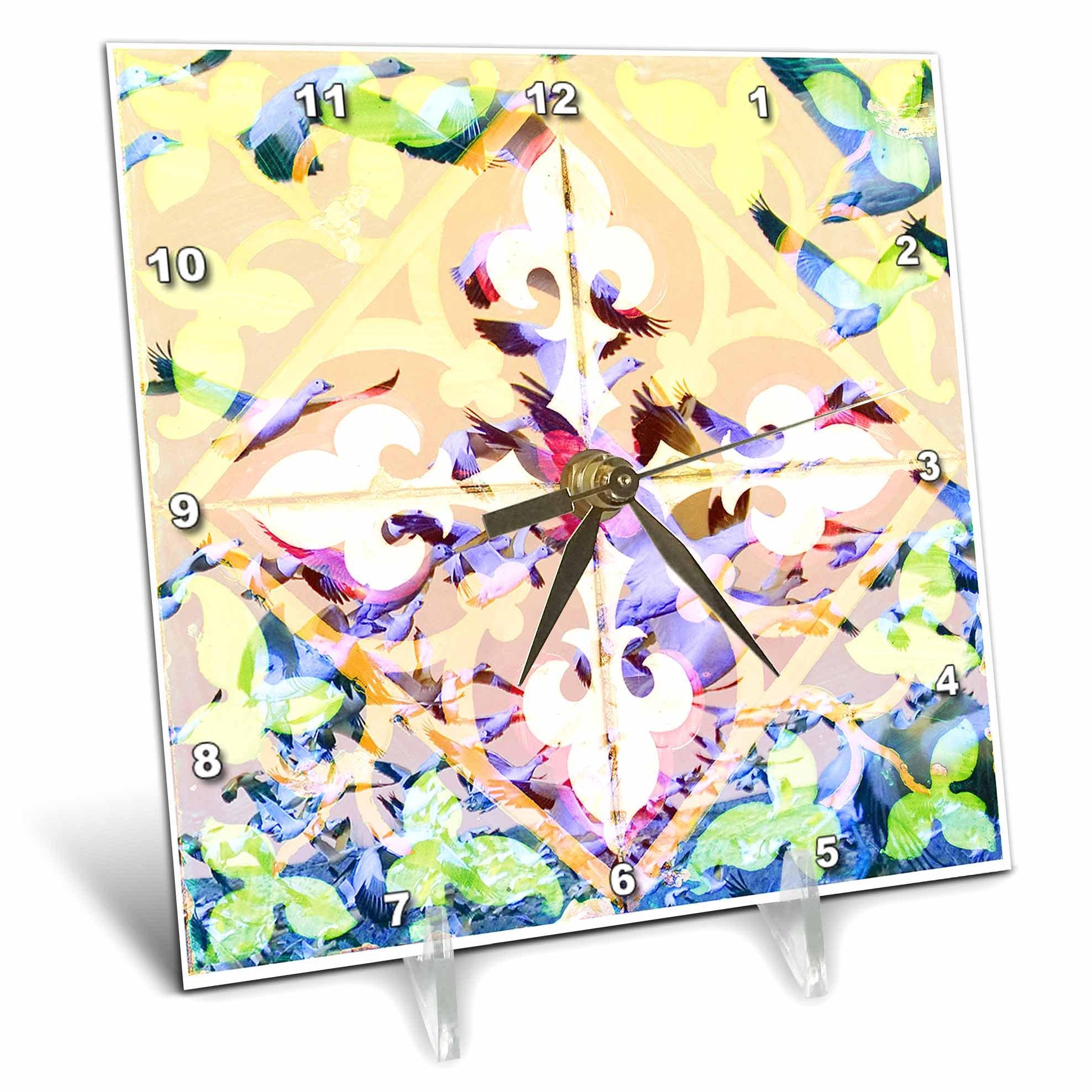 3dRose Sarah Ashmun Design - Tile - Birds flying through a tiled window - 6x6 Desk Clock (dc_280138_1)