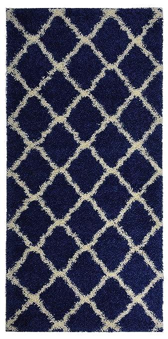 Navy Blue Trellis Shag Area Rug Rugs Shaggy Collection (Navy Blue, 3u00273u0026quot