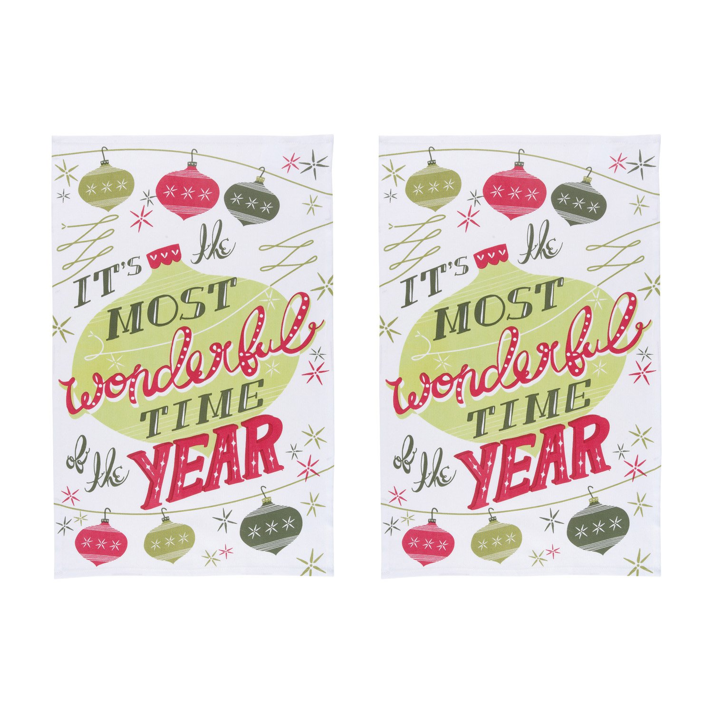 Now Designs Teatowels Wonderful Time Print Set of 2