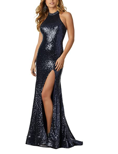 Nicefashion Womens Sexy Mermaid Sequins Wedding Party Dress with Keyhole Open Back Sliver US2