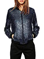 Clothink Women Black Collarless Long Sleeve Sequin Detail Bomber Jacket