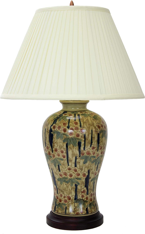"Oriental Furniture 25"" Glazed Bamboo Blossom Vase Lamp"