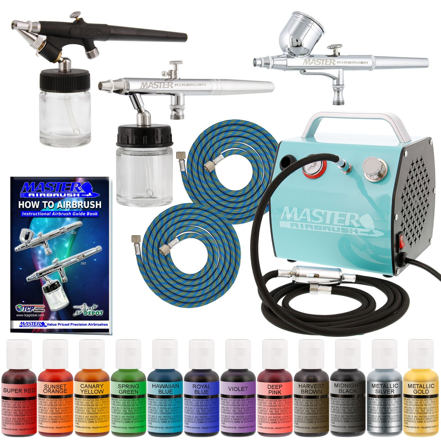 Bakery Airbrush Cake Kit with 3 Airbrushes, Compressor, 2 Air Hoses & 12 Color Chefmaster Food Coloring Set, .7 fl ounce Master Airbrush KIT-CAKE-SALON3