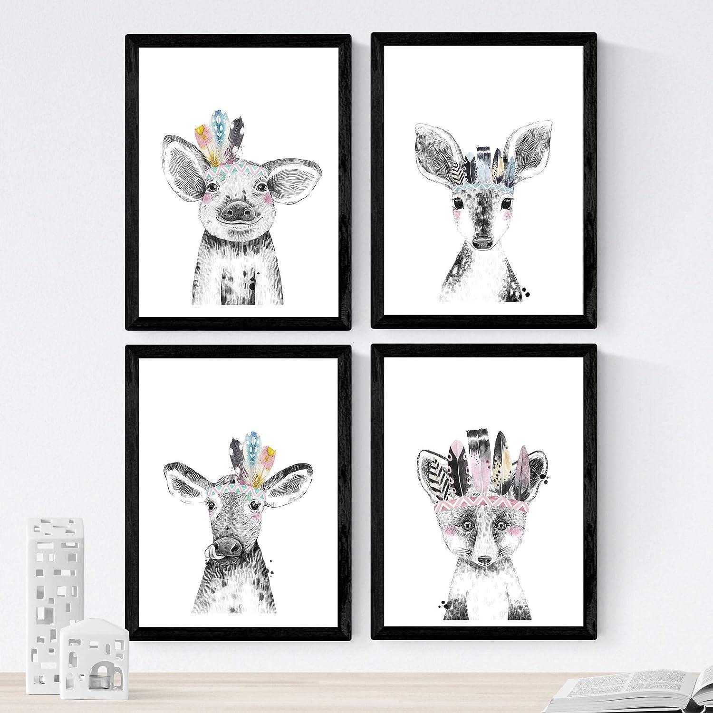 Set de 4 láminas de Animales Infantiles Con Plumas De Colores ,en tamaño A4, Poster papel 250 gr alta calidad. Sin Marco