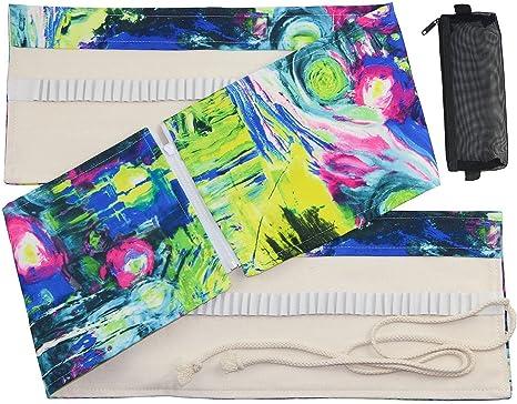 hcodeloz lienzo 132/envoltura de 120 lápices de colores, estuche enrollable de viaje organizador con un negro malla bolsa para accesorios: Amazon.es: Juguetes y juegos