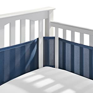 BreathableBaby Classic Breathable Mesh Crib Liner - Navy