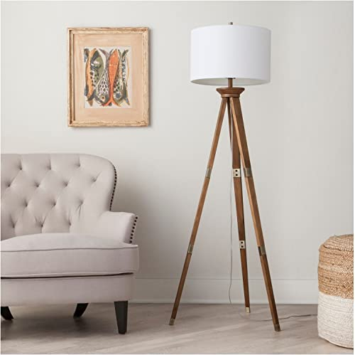 threshold Oak Wood Tripod Floor Lamp Bra