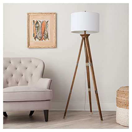 Oak Wood Tripod Floor Lamp Thresholdtm Amazon