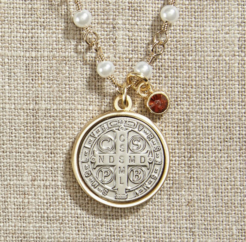 Set of 3 Vintage Blessings St. Benedict Necklace with Pearl Chain