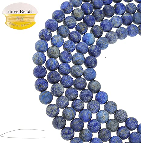 Natural Gemstone Stone 4-12mm Spacer Loose Blue Round Beads DIY Jewelry Making