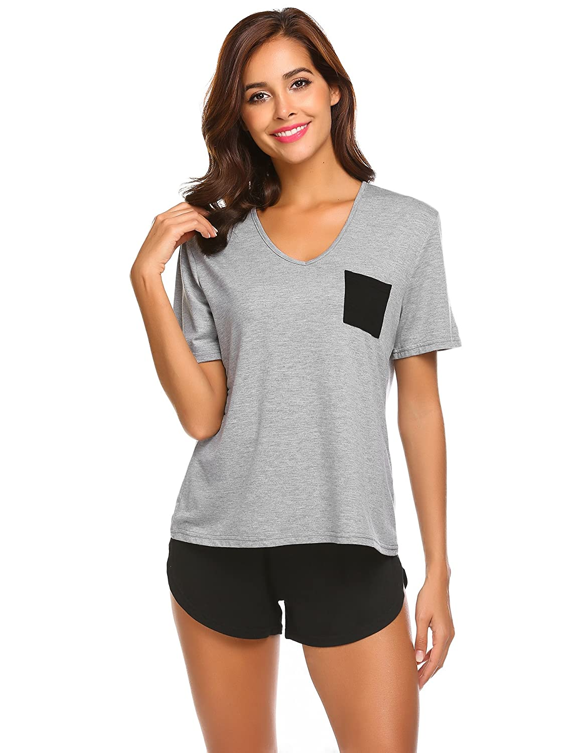 Alight Grey Luxilooks Pajama Set, Lounge Shorts Set Short Sleeves Nightgown Top and Pants Pj Sets 2Piece Sleepwear