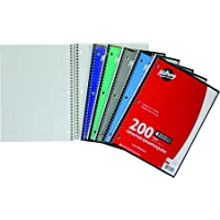 Hilroy Quad Ruled Coil Notebook, 1 Subject, 10-1/2 X 8 Inches, 100 Sheets/200 Pages, Assorted Colors (13009)