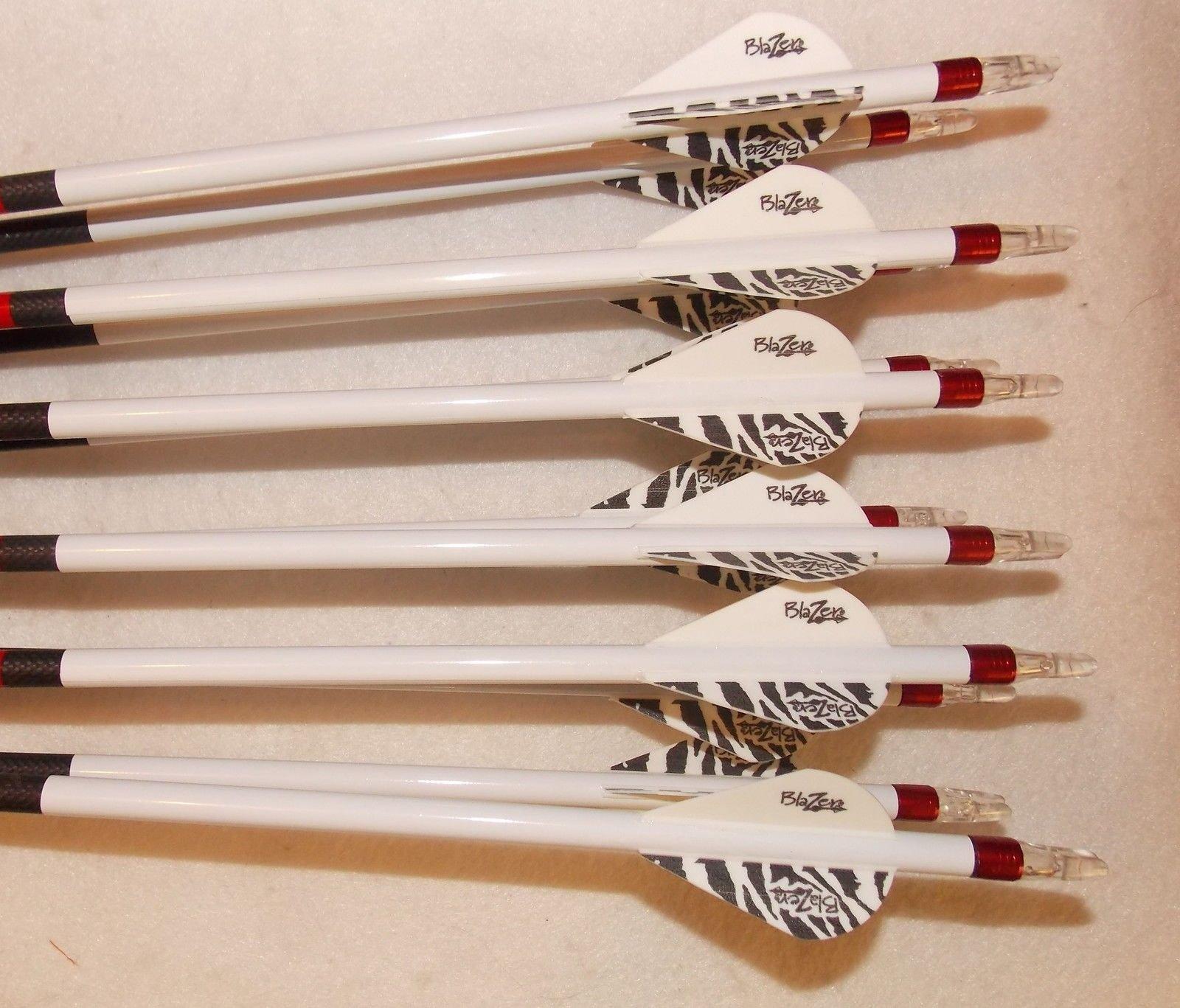 Carbon Express Maxima Red 250 Carbom Arrows w/Blazer Vanes Pathfinder Wraps 1 Dz.