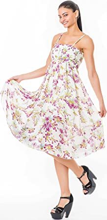 529d41fcf00b IgorBella Purple Floral Daisy Women Spaghetti Strap Elastic Tube Bust Boho  Floral Print Summer Cocktail Evening Midi Casual Wear Dress Party: Amazon.co .uk: ...