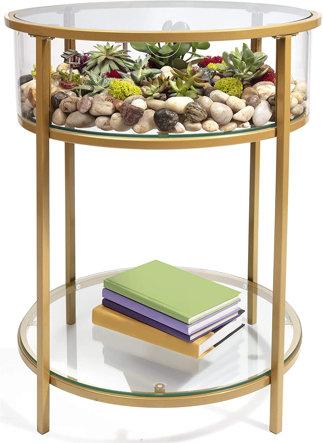 "Round Terrarium Display End Table with Reinforced Glass in Gold Iron- 20"" Diameter, 26.5"" Height"
