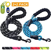 ladoogo 2 Pack 5 FT Heavy Duty Dog Leash with Comfortable Padded Handle Reflective Dog…