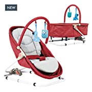 Baby Bassinet & Bouncer Travel Bassinet, Rocker, Bouncer with Two Modes of use, Newborn Portable Baby Bassinet. … (Red)