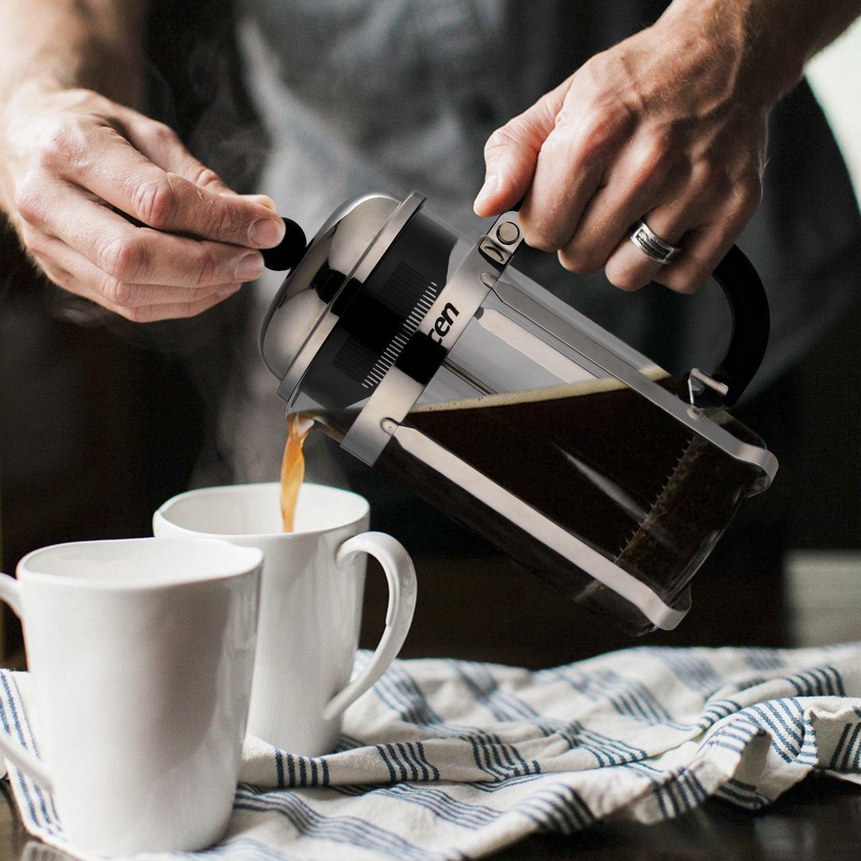 Decen Coffee Tea & Espresso Cafetières French Filter Coffee Press Plunger - 1.0L / 8 Cup