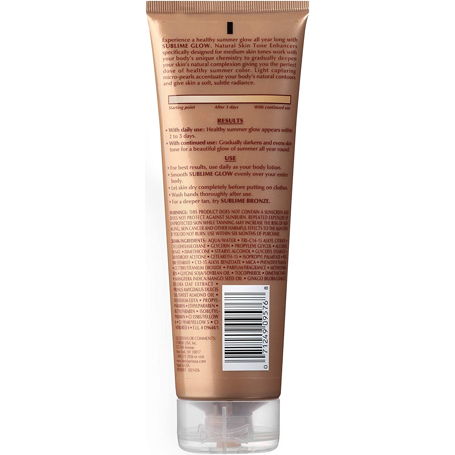 Sunless tanning lotion by L'Oreal Paris, Sublime Glow Daily Moisturizer and Natural Skin Tone Enhancer Medium Skin Tones 8 fl. oz.: Beauty