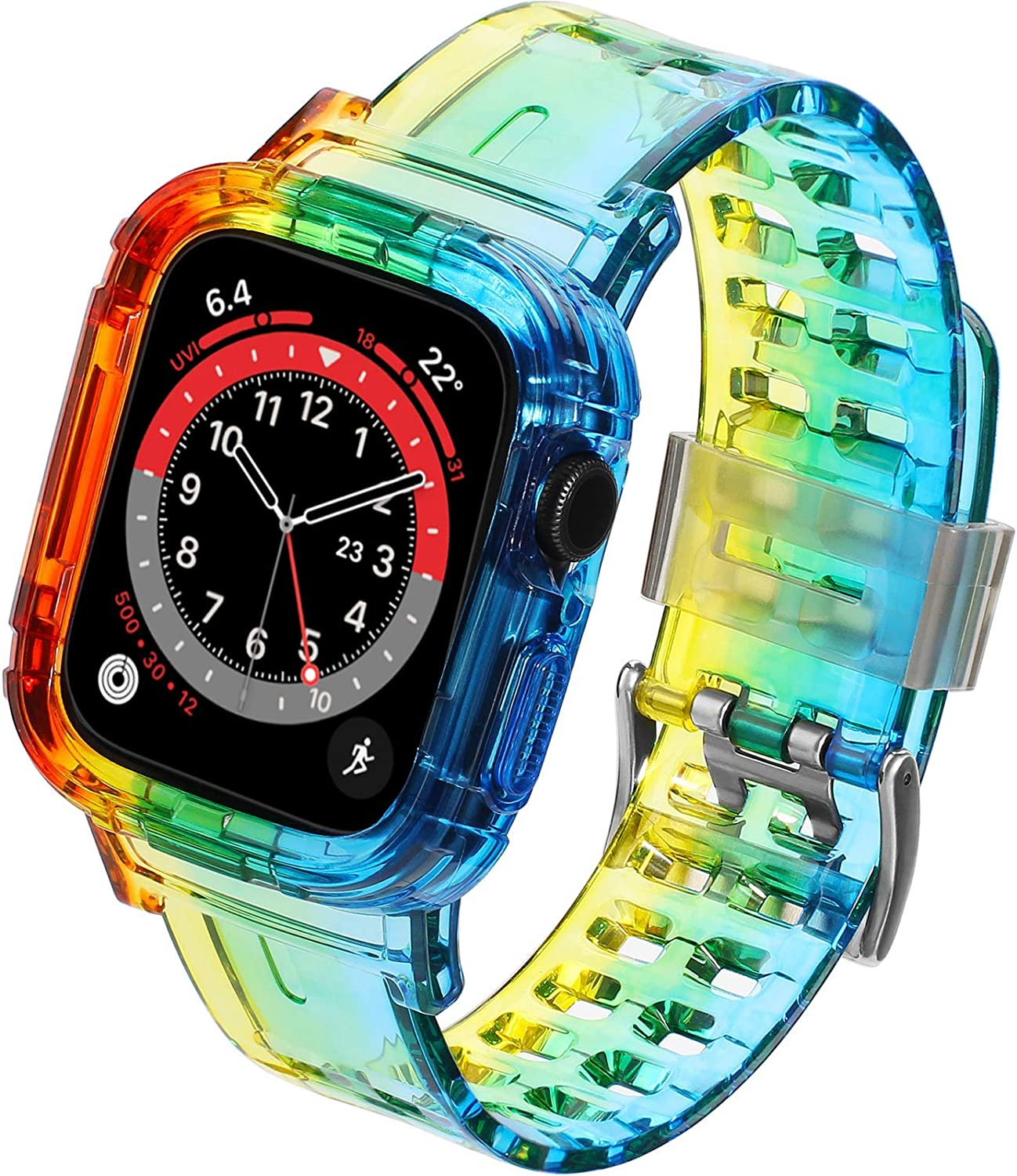 UNKNOK Compatible with Apple Watch Band 38mm 40mm 42mm 44mm Crystal Clear Men Women Bands for iWatch Series SE 6 5 4 3 2 1, Military Drop-Proof Protect Sports Wristband with Bumper Case
