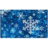 Morigins Winter Snowflakes Rubber Door Mat Deorative Let it Snow Indoor Outdoor Floor Mats 18x30 inch