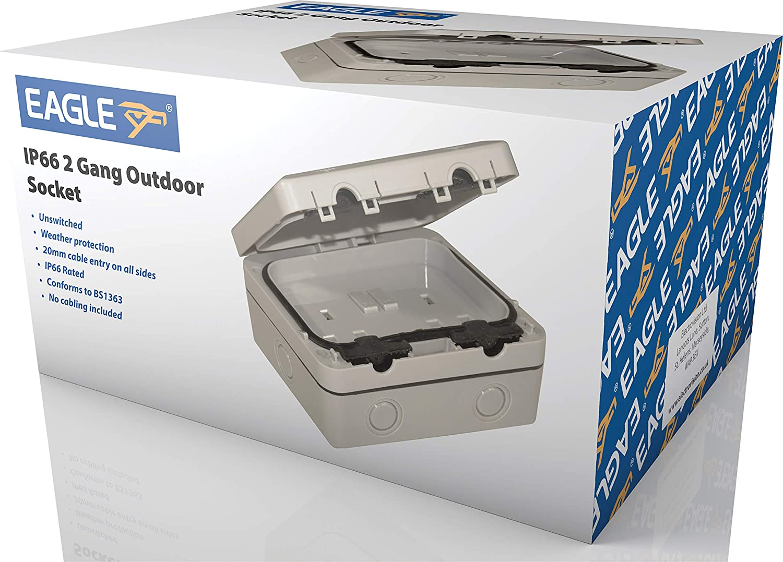 E341EAA Eagle 2-Gang Waterproof Outdoor Mains Socket 13A