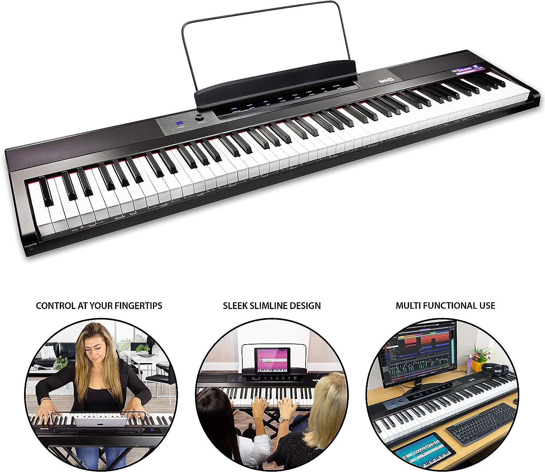 RockJam de 88 teclas del teclado de piano para principiantes Digital Piano con Full-Size Semi-Weighted Keys, atril, Piano engomada de la nota, la fuente de alimentación y construido en altavoces