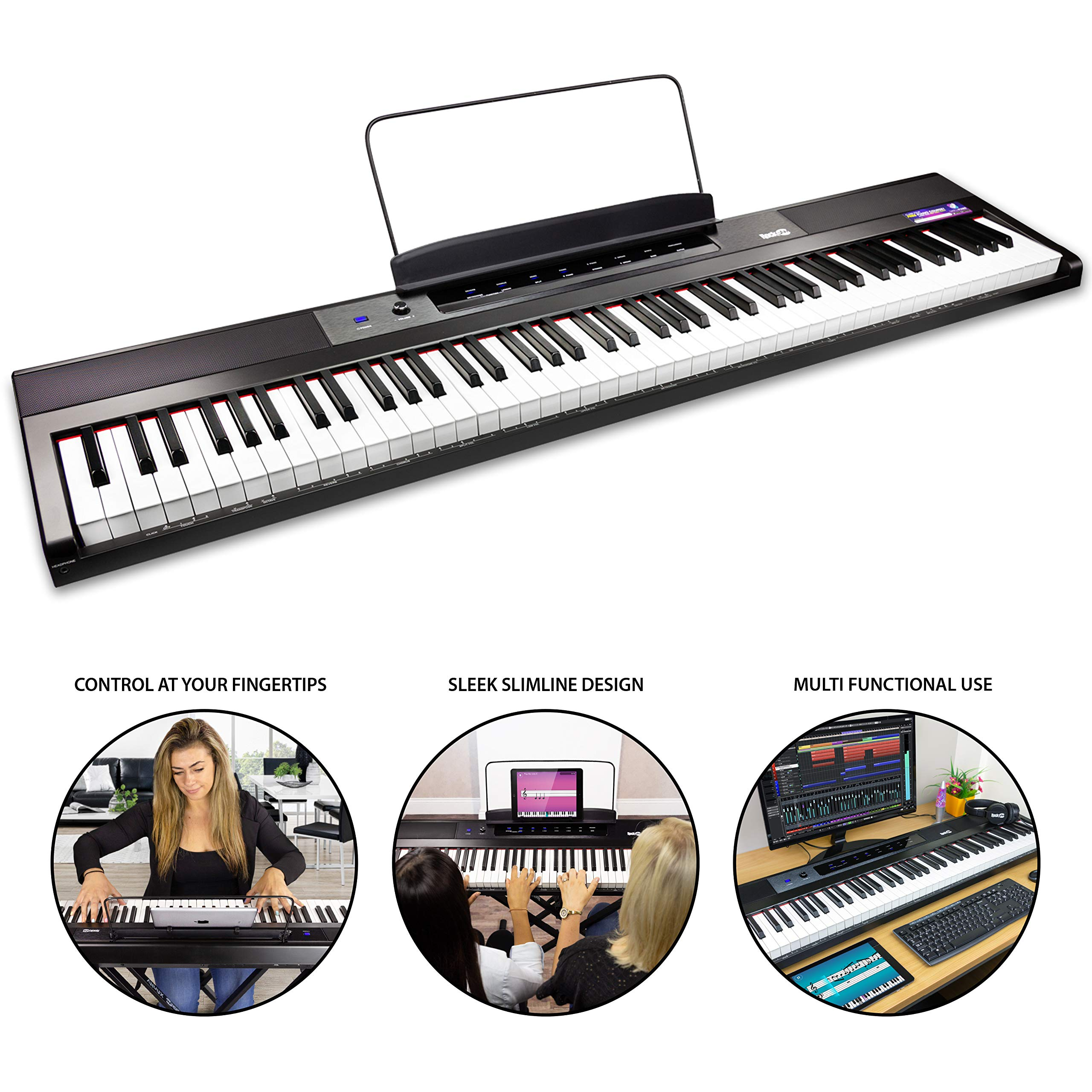 RockJam 88-Key Beginner Digital Piano with Full-Size Semi-Weighted Keys, Power Supply, Simply Piano App Content & Key Note Stickers by RockJam