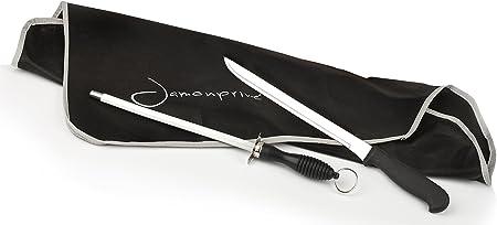 Soporte Jamonero + Cuchillo + Chaira + Cubre Jamón + Paño + Pinzas - Set Completo de Corte Jamonprive