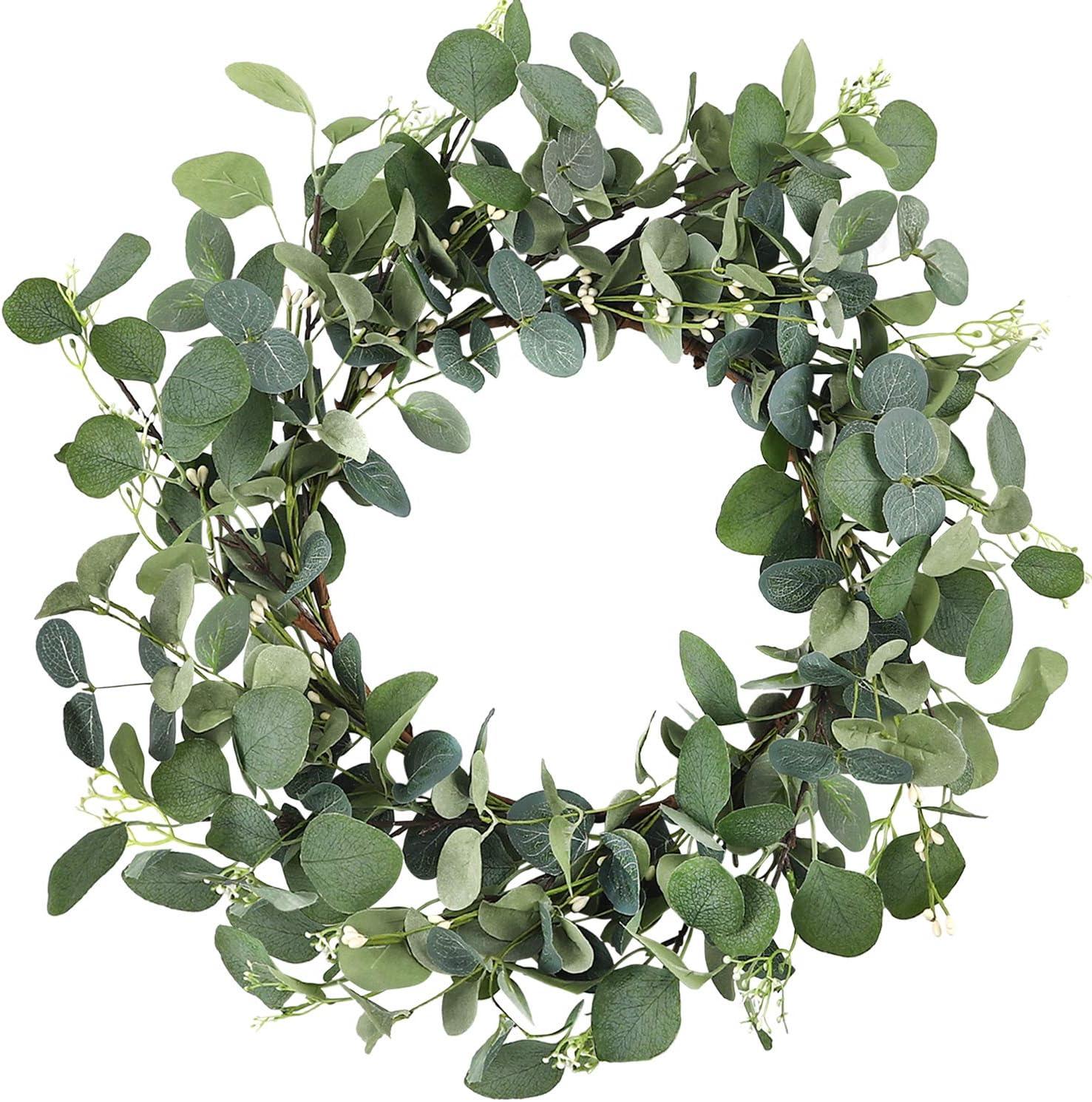 CEWOR 19 Inches Artificial Green Leaf Eucalyptus Wreath Spring Summer Outdoor Ornaments for Front Door Wall Window Farmhouse Decor