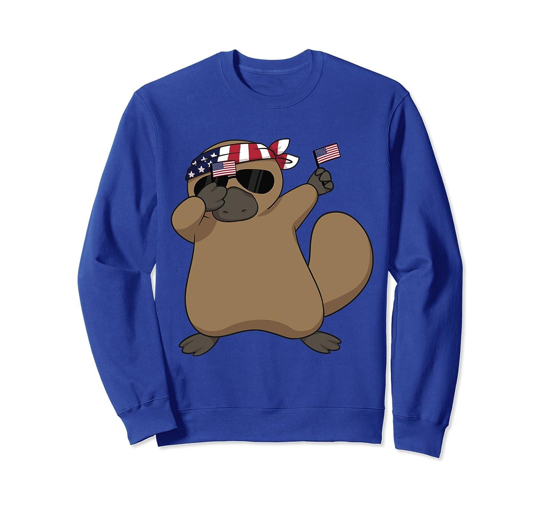 American Pride Platypus USA Dabbing Funny Sweatshirt-AZP