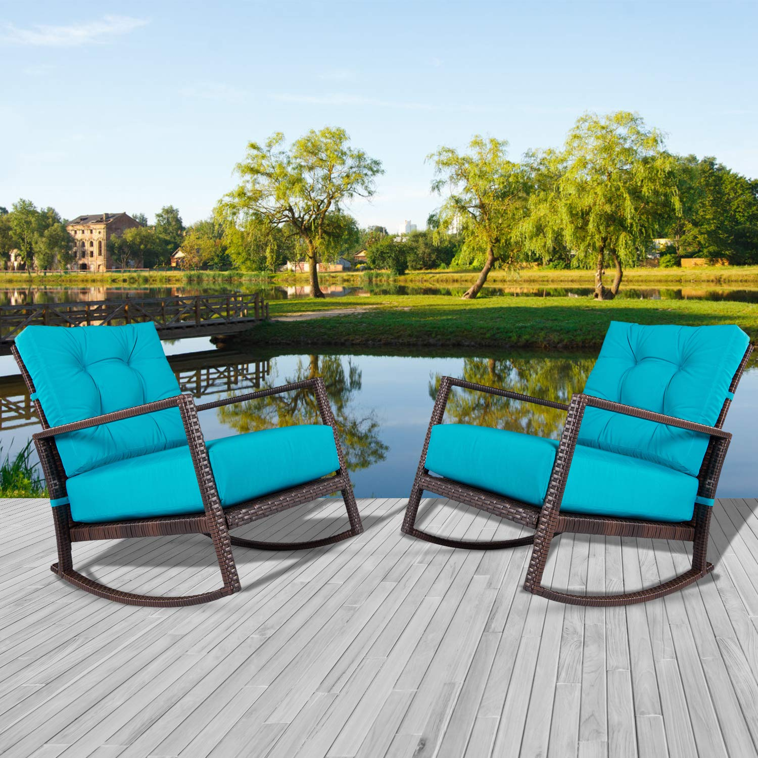 Incbruce Outdoor Patio Rocking Chair 2 Piece Wicker Rocking Bistro Set w/Washable and Thick Cushion, Garden Conversation Sets with Teal Seat Cushion