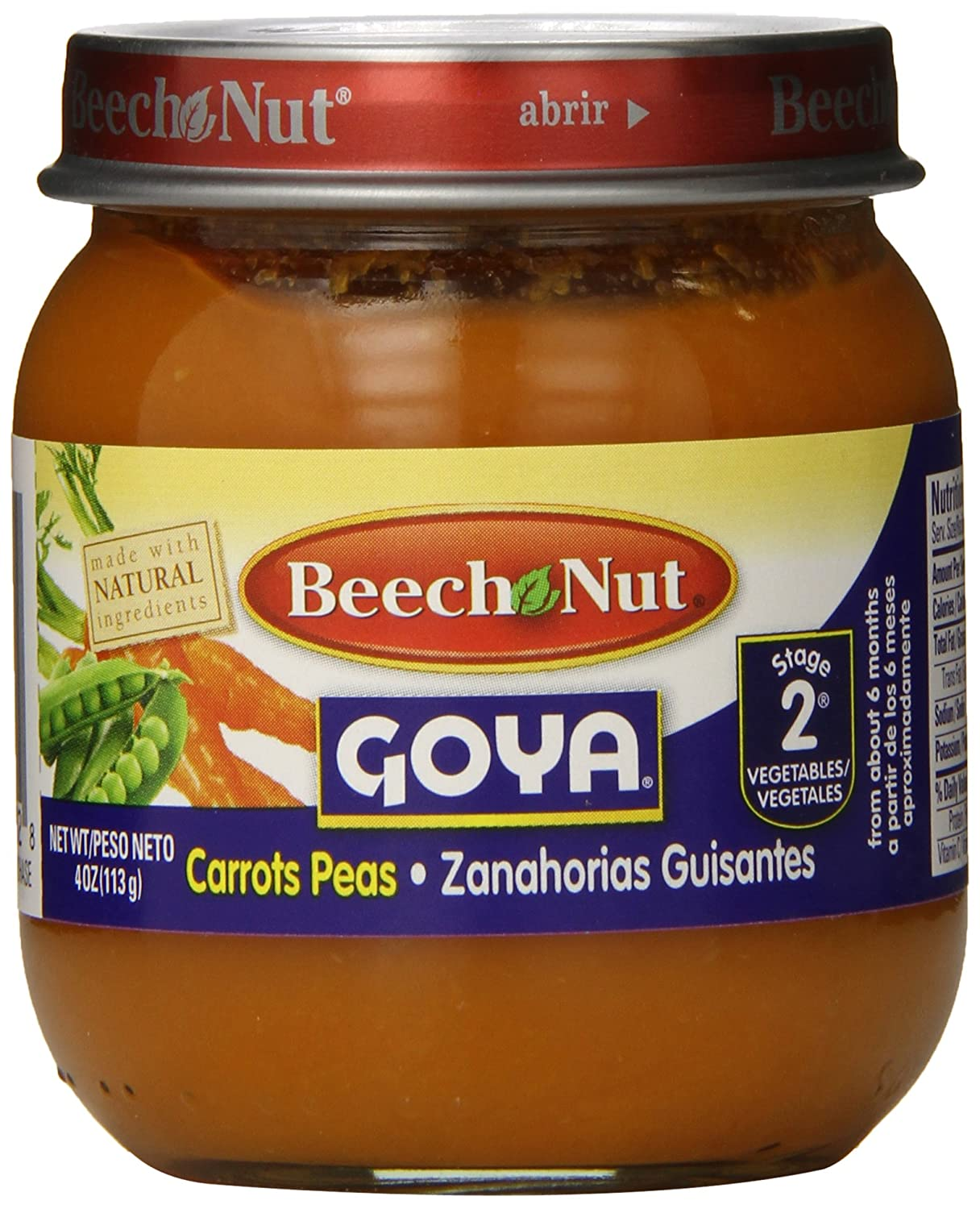 Beech Nut Stage 2 Goya Jar, Carrots and Peas, 4 Ounce (Pack of 10): Amazon.com: Grocery & Gourmet Food