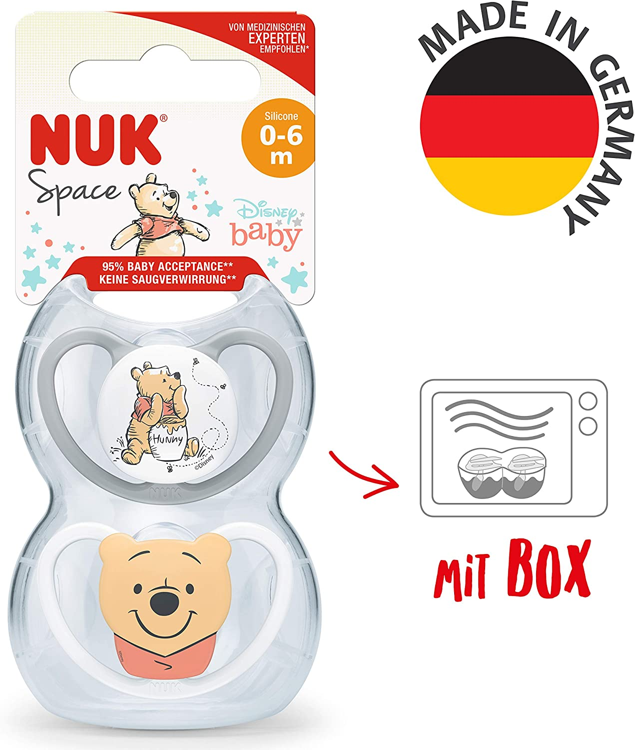 Disney Winnie the Pooh NUK Space Baby Dummy 0-6 Months 2 Count Soothers with Extra Ventilation| BPA-Free Silicone