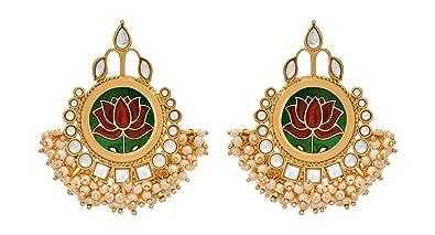 9907c6f462 JFL - Traditional Ethnic One Gram Gold Plated Meenakari Kundan & Pearl  Designer Lotus Earring for