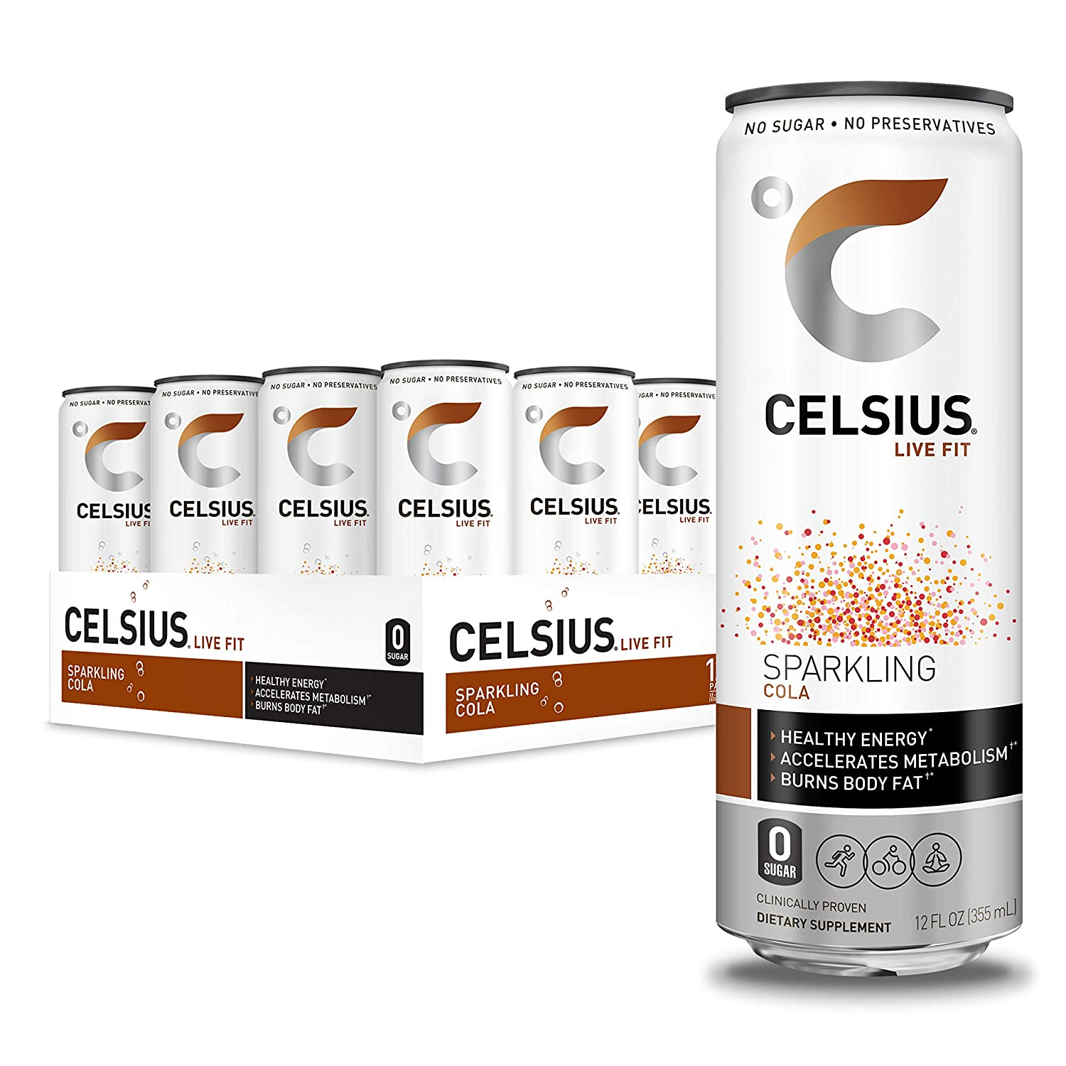 CELSIUS Sparkling Cola Fitness Drink, Zero Sugar, 12oz. Slim Can (Pack of 12)