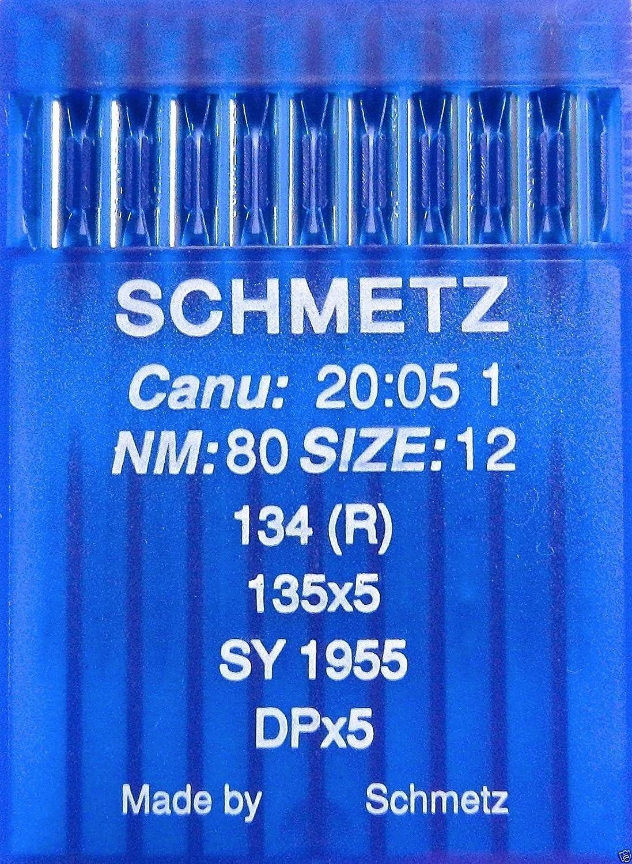 SCHMETZ - Agujas para máquina de Coser (10 Unidades, Sistema 134 (R), Industrial, St. 80)