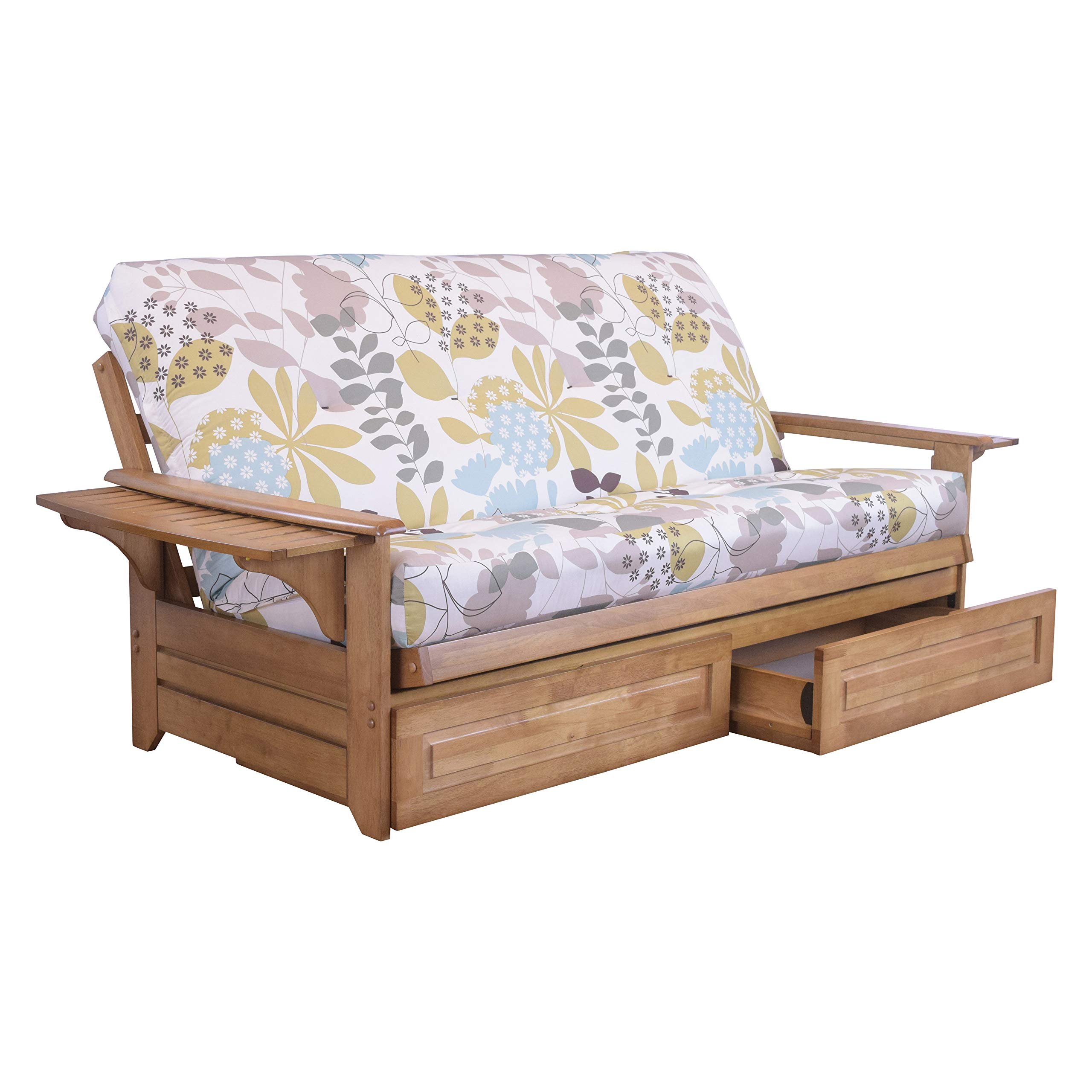 Northland Futon Wood Drawers and Frame - Arm Tray - Underbed Storage with Honey Brown Finish (Full) by Cordova Futons