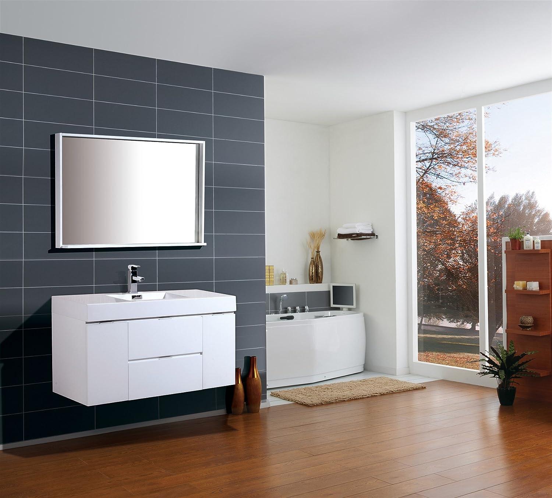 Kube Bath Bliss 48? High Gloss White Wall Mount Modern Bathroom ...